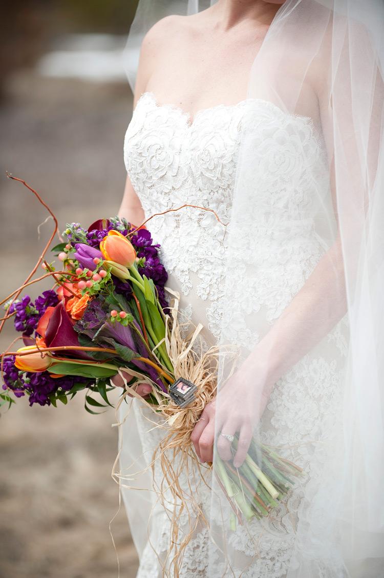 Bridal Bouquet w  framed pics tied w rafia_brinton