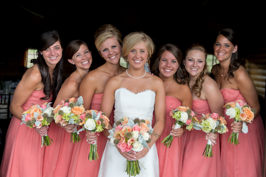 Bridal party in coral
