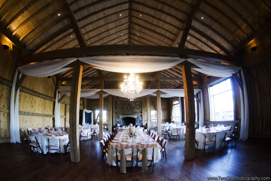 Chandeliers and drape in Broad Axe Barn, Pink Monkey Solutions, JA Special Events, Two One Photography