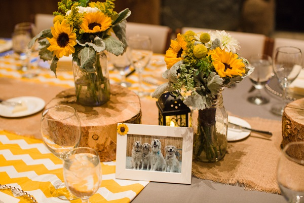Rustic tablescape with dog theme picture and sunflowers, Robin Cain ...
