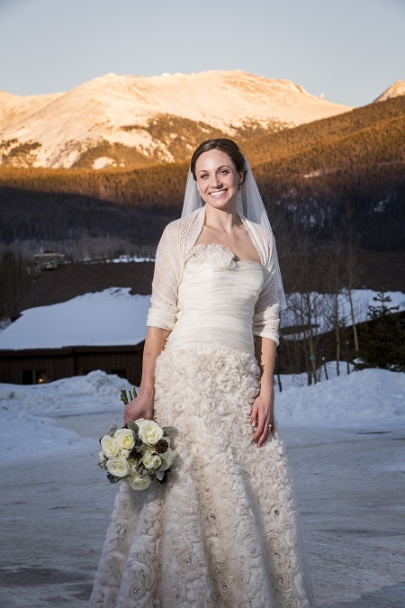 Bridal Portrait with mountain alpenglo, David Lynn Photography