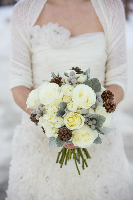 Bridal bouquet with pine cones by Statice Floral, David Lynn Photography