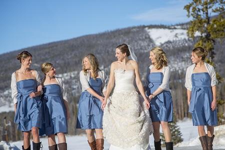Short blue bridesmaid dresses, David Lynn Photography