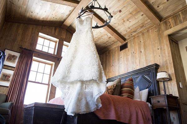 Wedding dress at Devil's Thumb Ranch, David Lynn Photography