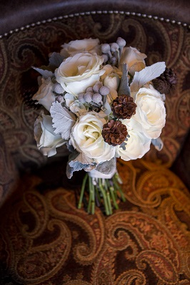Winter Bouquet with pine cones by Statice Floral, David Lynn Photography