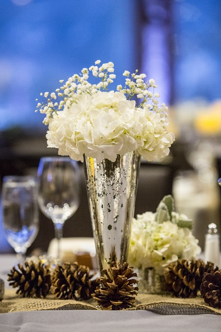 Hydrangea & Baby's Breath in mercury glass vase from Statice Floral, David Lynn Photography