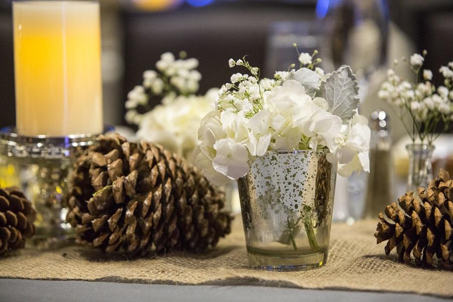 Pine cones & mercury glass votives, David Lynn Photography