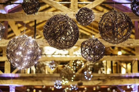 Rustic lighted vine balls from Statice Floral, David Lynn Photography