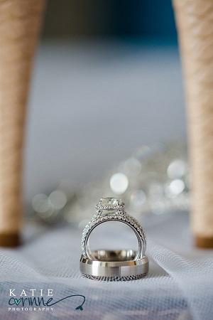 Wedding rings between the heels