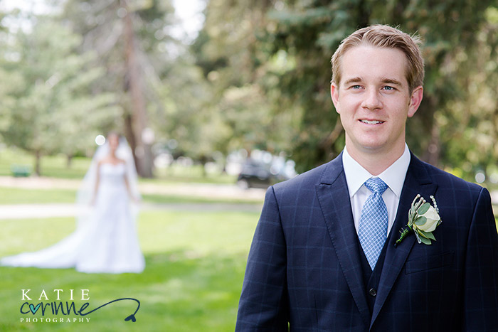 Groom's portrait with first look