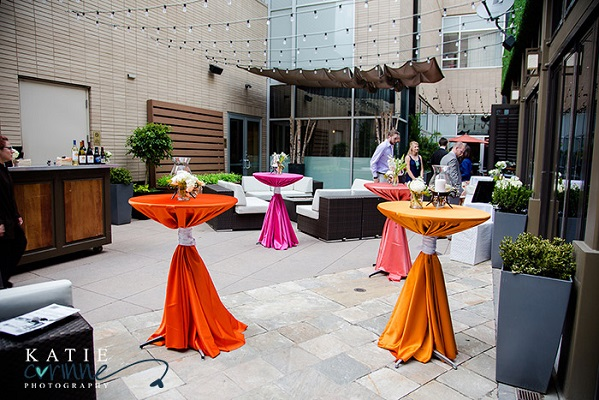 cocktail tables in ombre sunset fade
