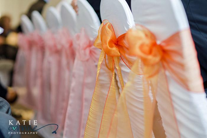Orange & Pink organza chair ties