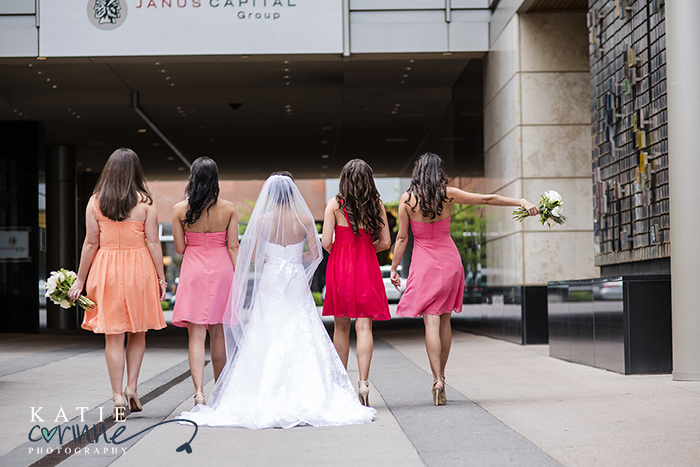 Bridesmaids in retreat with sunset inspired dresses