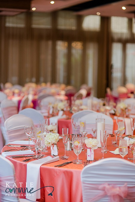 Love the soft look of these sunset inspired linens paired with white chair covers & napkins from Linen Hero