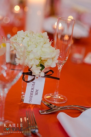 Place card vase adds color to the table and serves as a favor