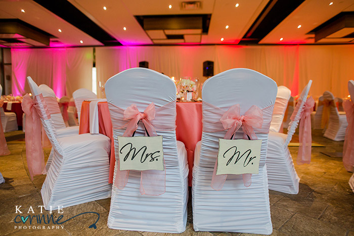 Mr & Mrs signs on rusched chair covers