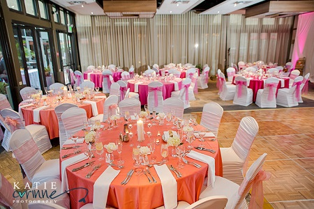 Sunset inspired reception with ombre fade of linens