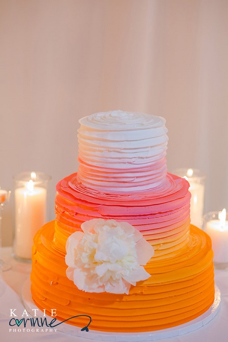 Ombre cake with peony accent from Mulberries Cake Shop