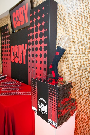 Bar mitzvah welcome table by Design Works, Jared Wilson Photography