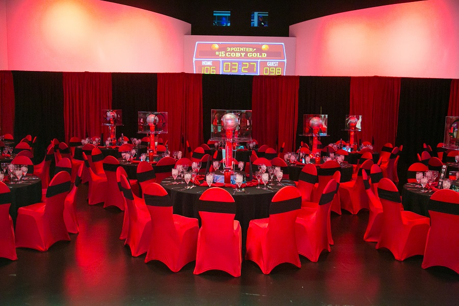 Spandex chair covers from Linen Hero at basketball bar mitzvah, Jared Wilson Photography