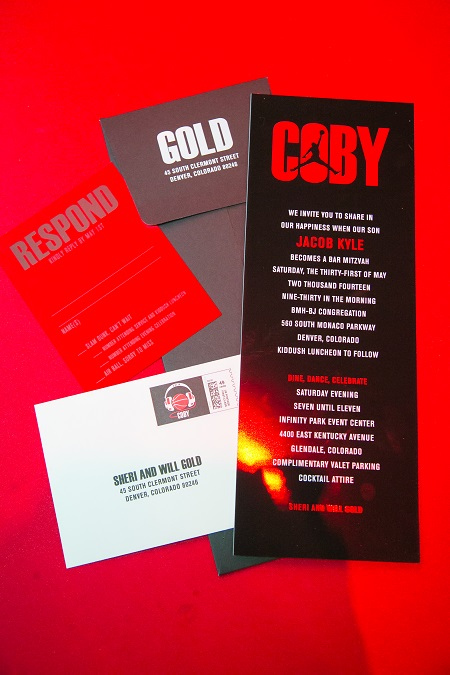 Black and red bar mitzvah invitations, Jared Wilson Photography