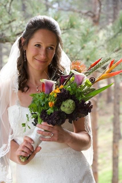 Bridal portrait with colorful bouquet, 11:11 Productions