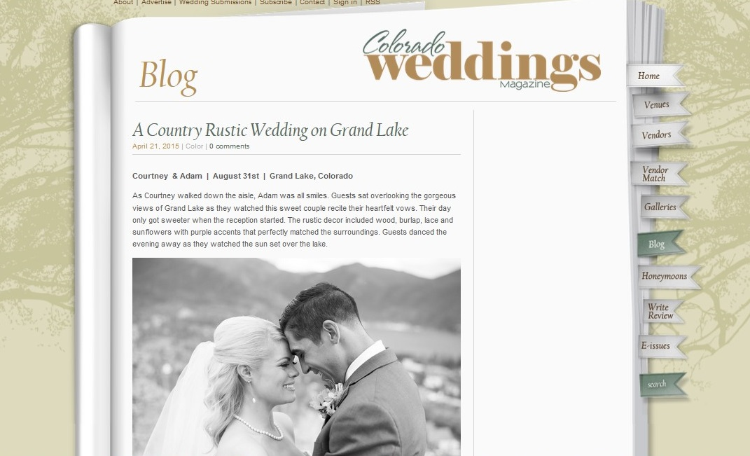 Colorado Weddings Magazine feature