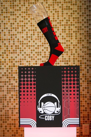 Monogrammed sock & signage, Jared Wilson Photography