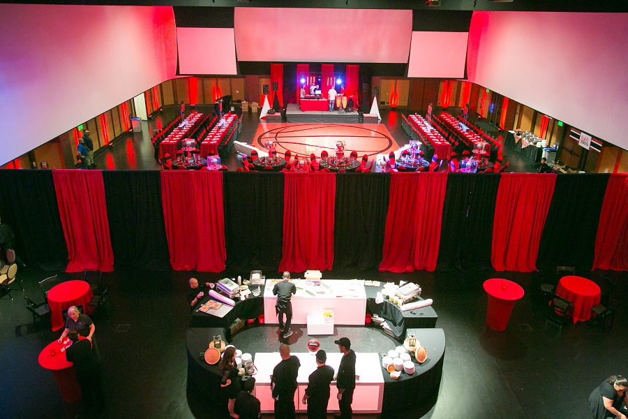 black & red basketball themed bar mitzvah reception at Infinity Park, Jared Wilson Photography