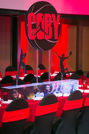 Basketball centerpiece with graphics from Design Works, Jared Wilson Photography