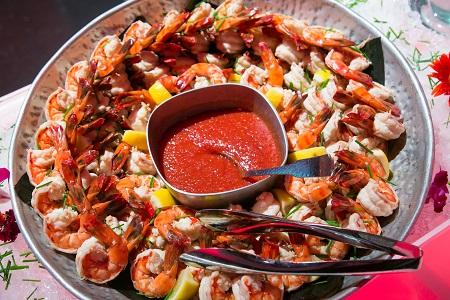 Shrimp display from Sushi Sasa, Jared Wilson Photography