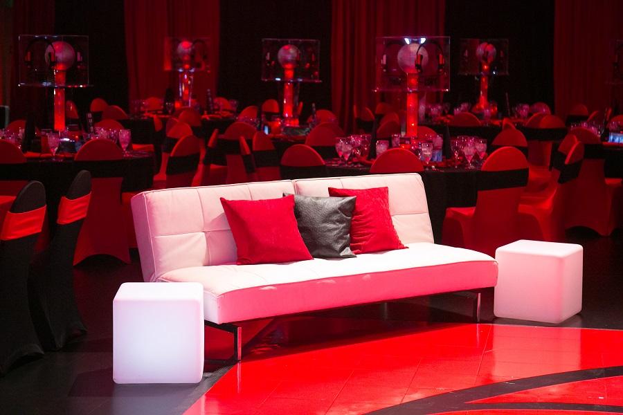 White lounge seating at red & black bar mitzvah, Jared Wilson Photography